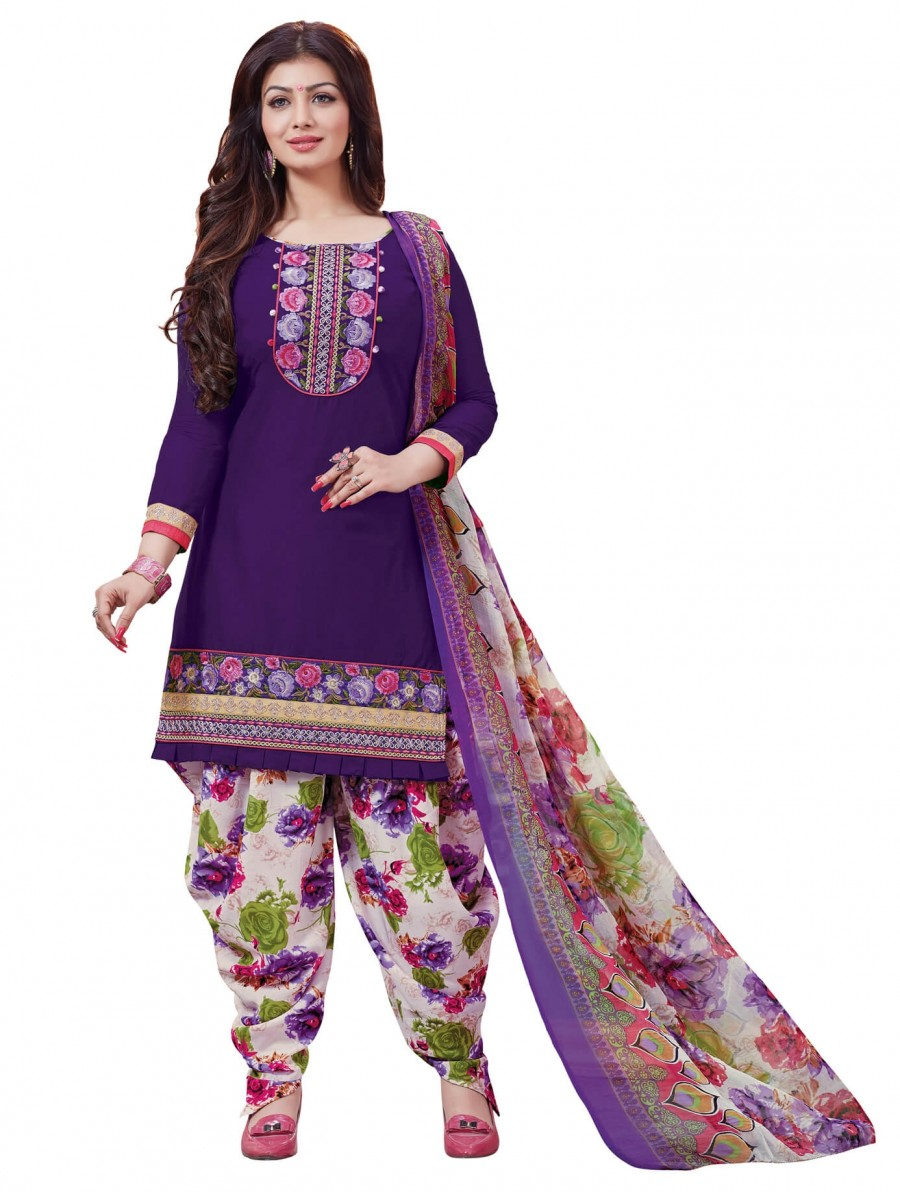 Buy Stylis fancy vibrent Purpal Designer Patiyala Suit Online