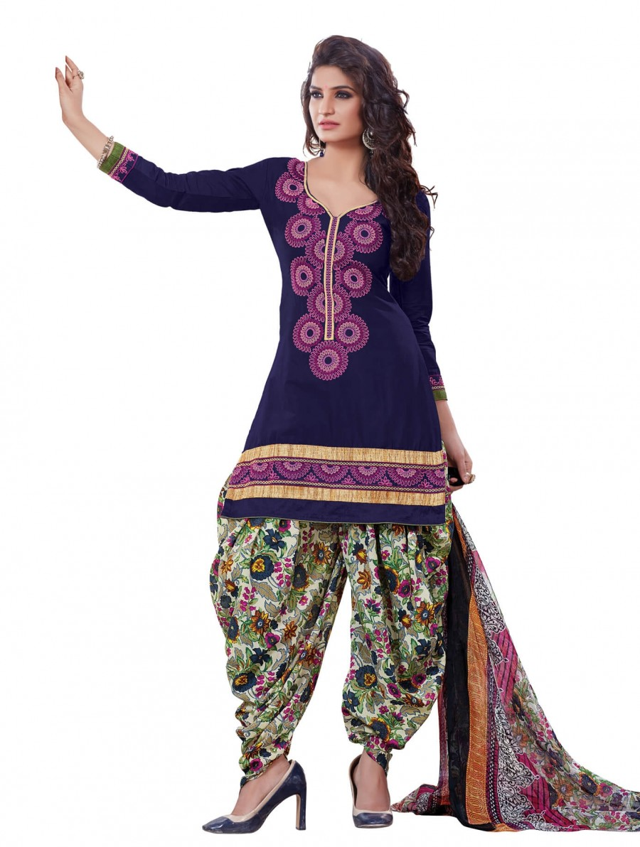 Buy  Charming Blue Designer Patiyala Dress Material Online