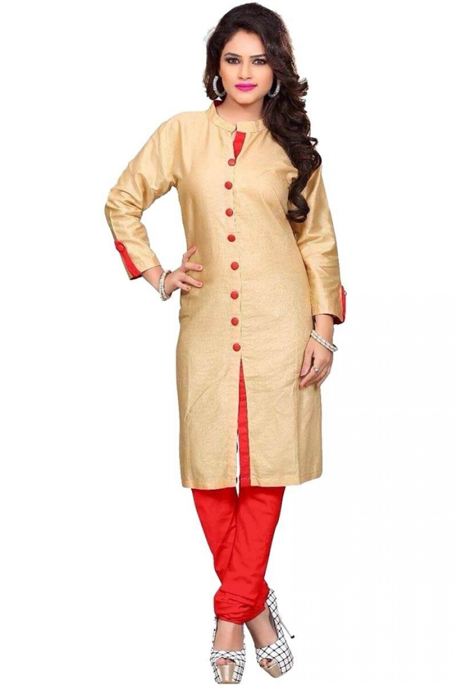 Buy cream red button style salwar suit Online