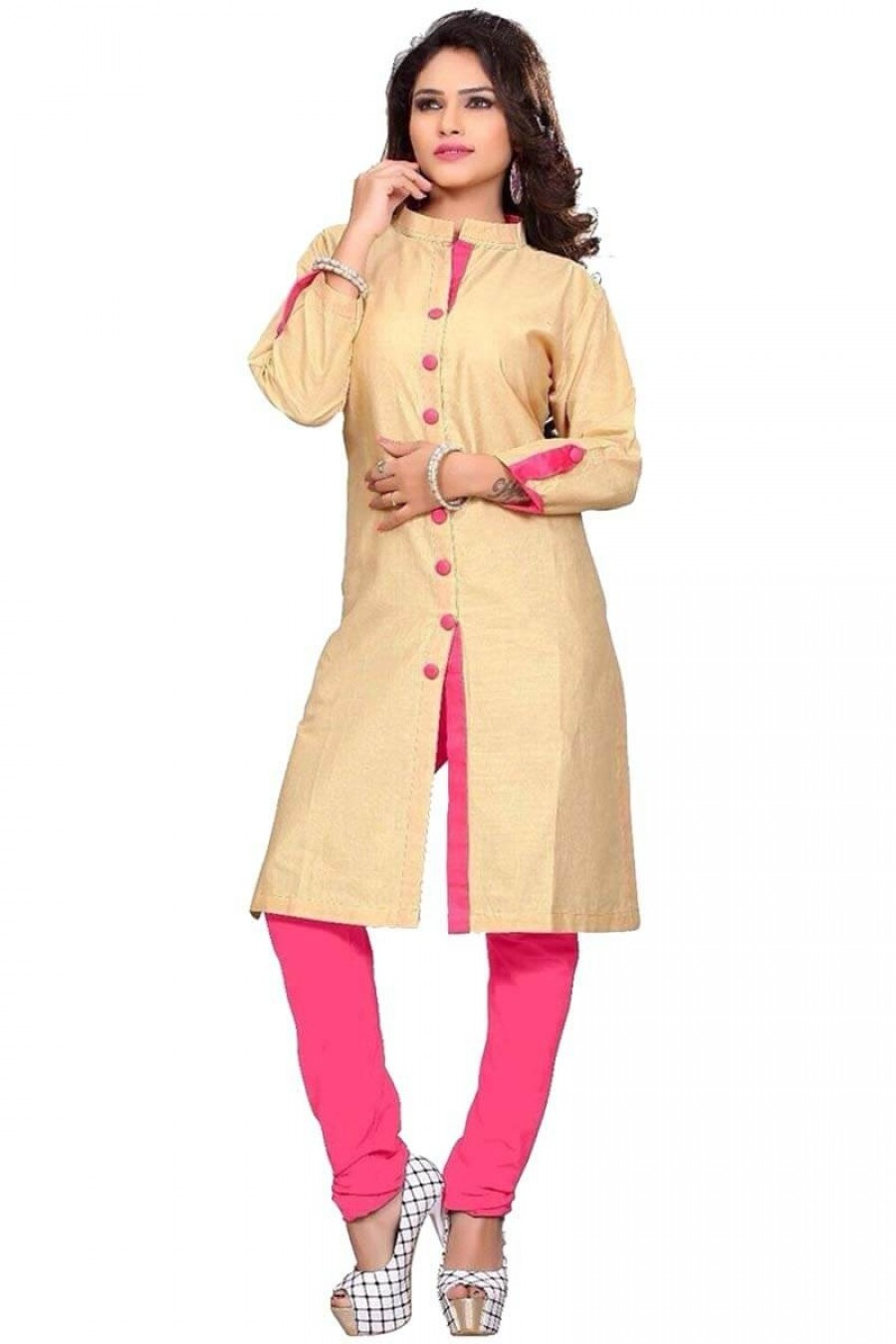 cc4f803bf03d1 Purchase | cream pink button style salwar suit | 507917