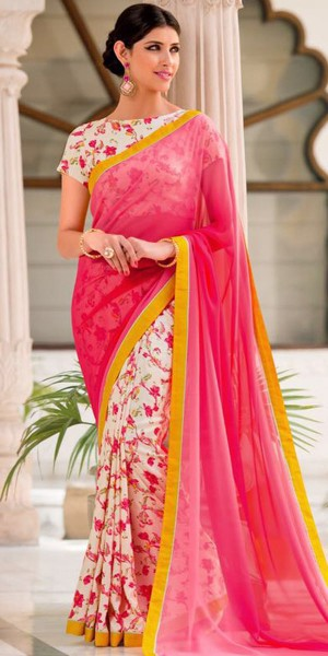 Buy Adorning Pink And Off-White Georgette Printed Saree. Online