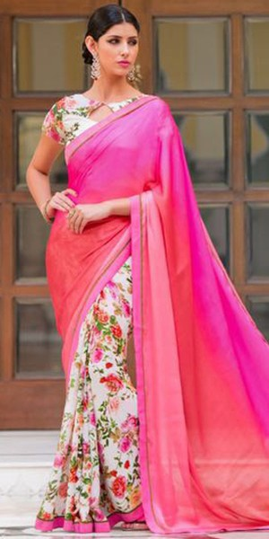 Buy Sensational Pink And Off-White Chiffon Printed Saree. Online