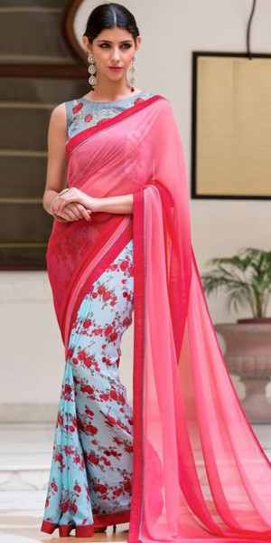 Buy Astounding Peach And Blue Georgette Printed Saree. Online