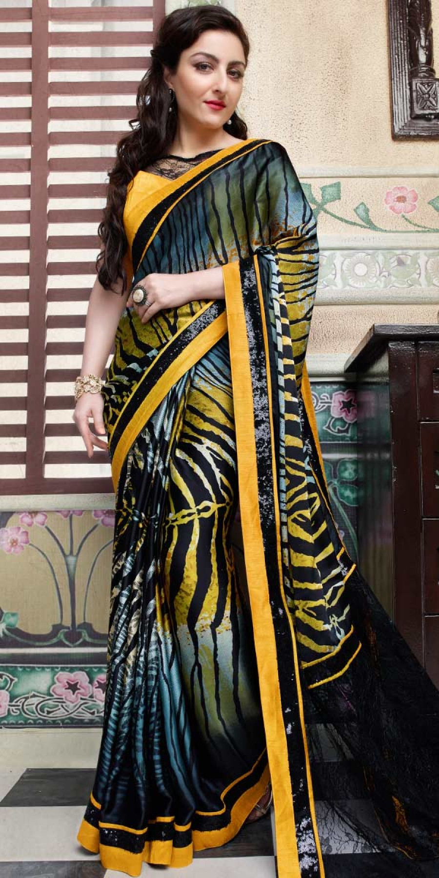 Buy Soha Ali Khan Yellow And Multi-Color Silk Saree With Blouse. Online