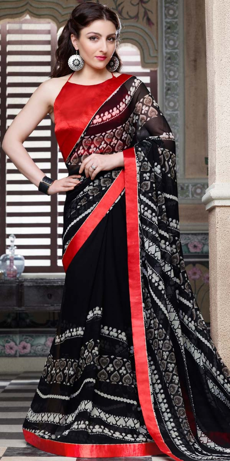 Buy Soha Ali Khan Black And Red Georgette Saree With Blouse. Online