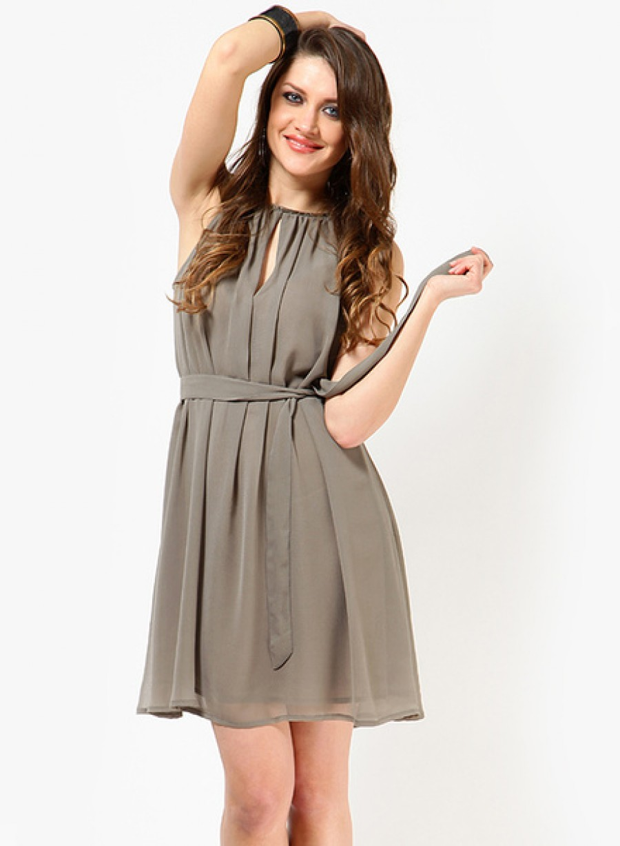Buy Tops And TunicsGrey Colored Solid Skater Dress Online