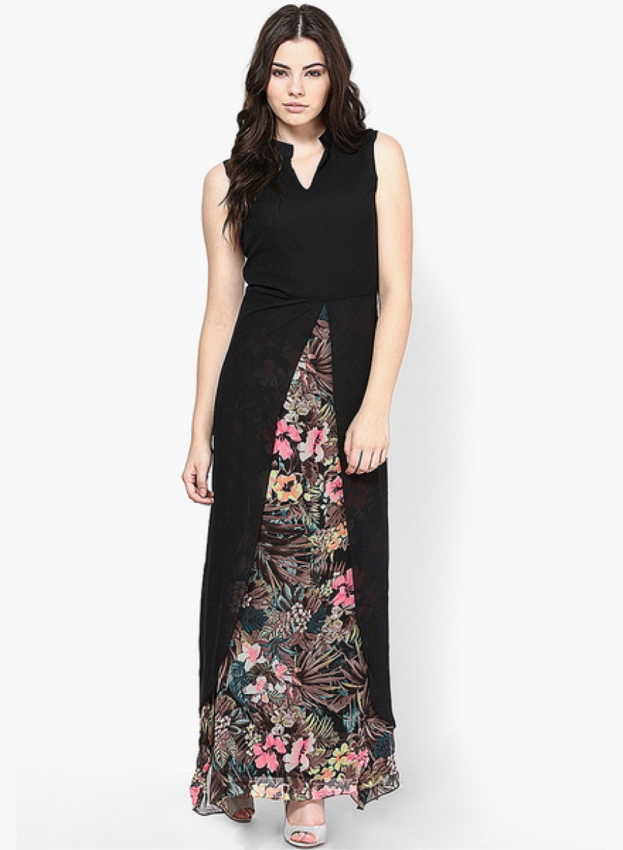 Buy AthenaBlack Colored Printed Maxi Dress Online