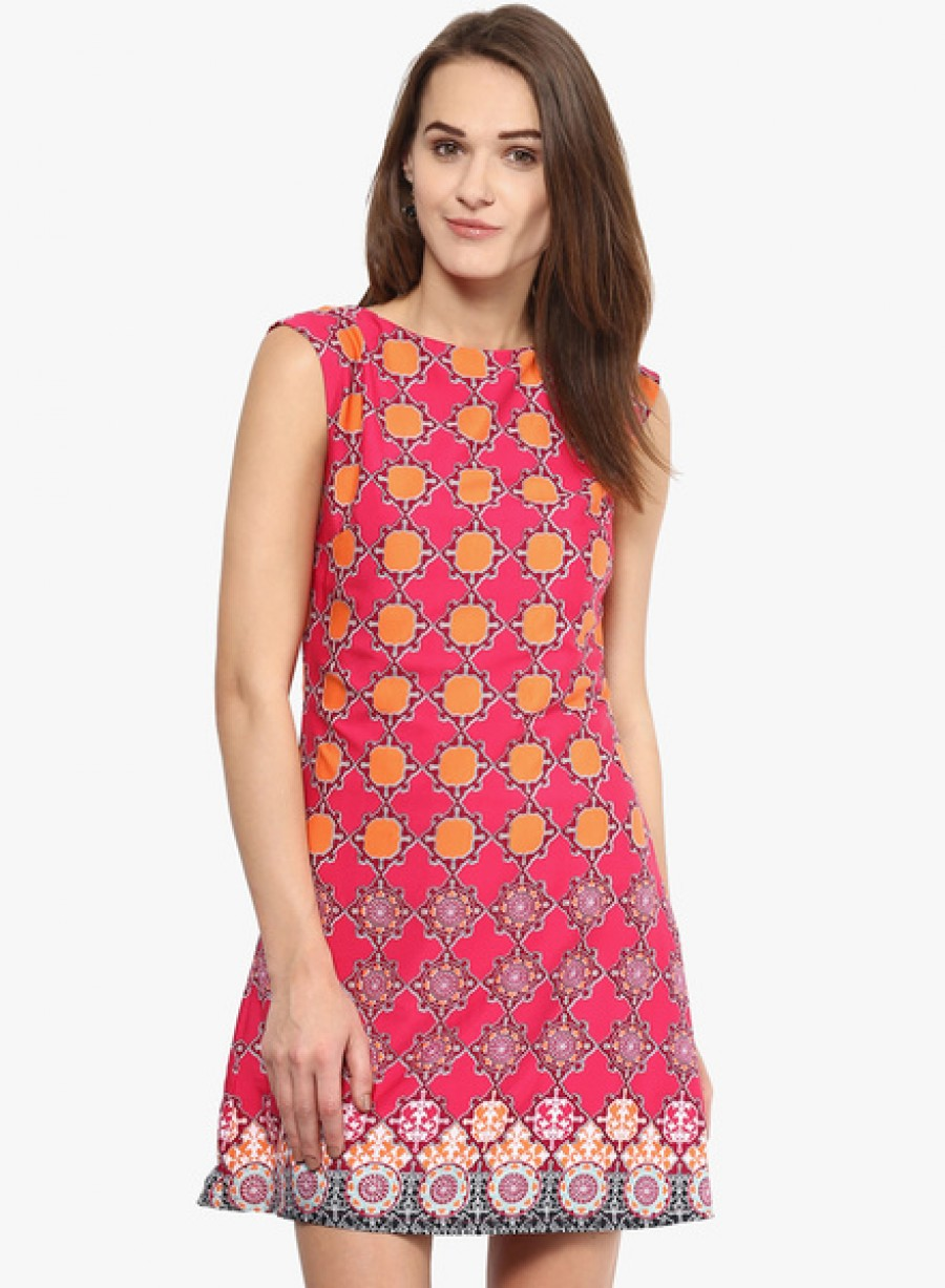 Buy HarpaPink Coloured Printed Shift Drerss Online