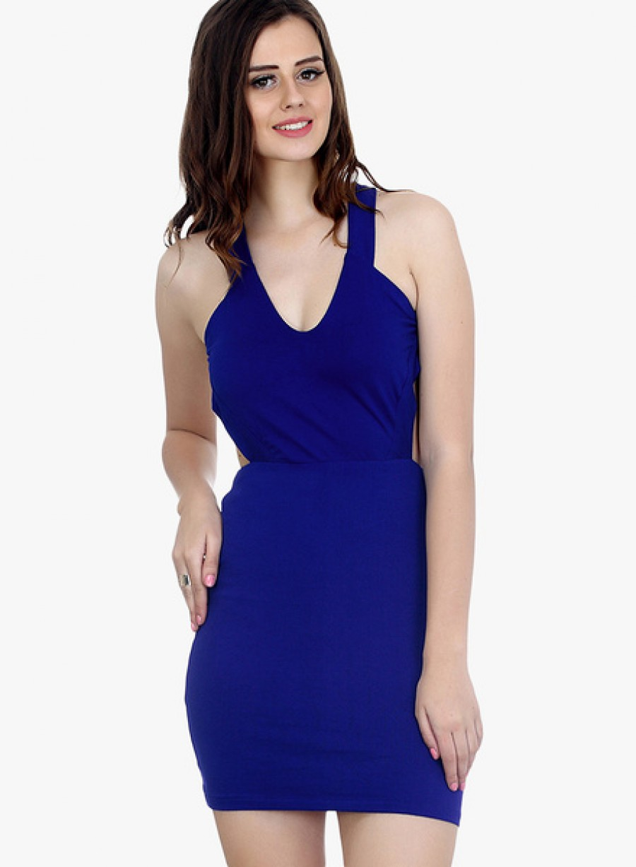 Buy FaballeyBlue Colored Solid Bodycon Dress Online