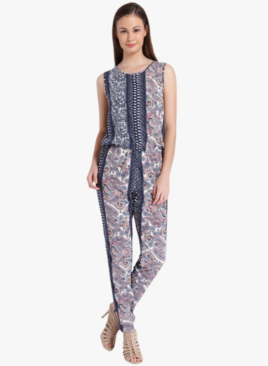 Buy Only Navy Blue Printed Jumpsuit Online