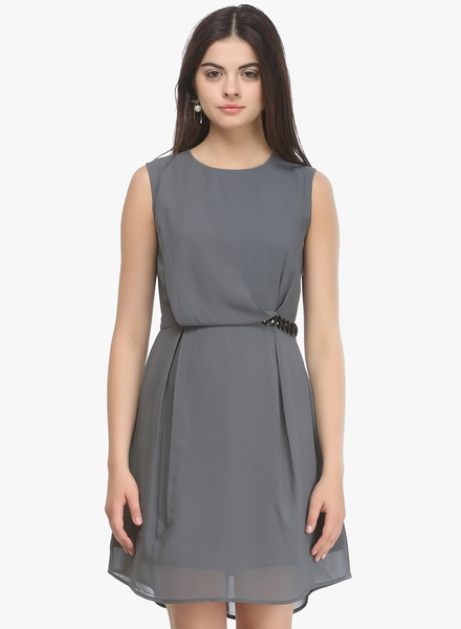 Buy NINETEENGrey Coloured Solid Skater Dress Online