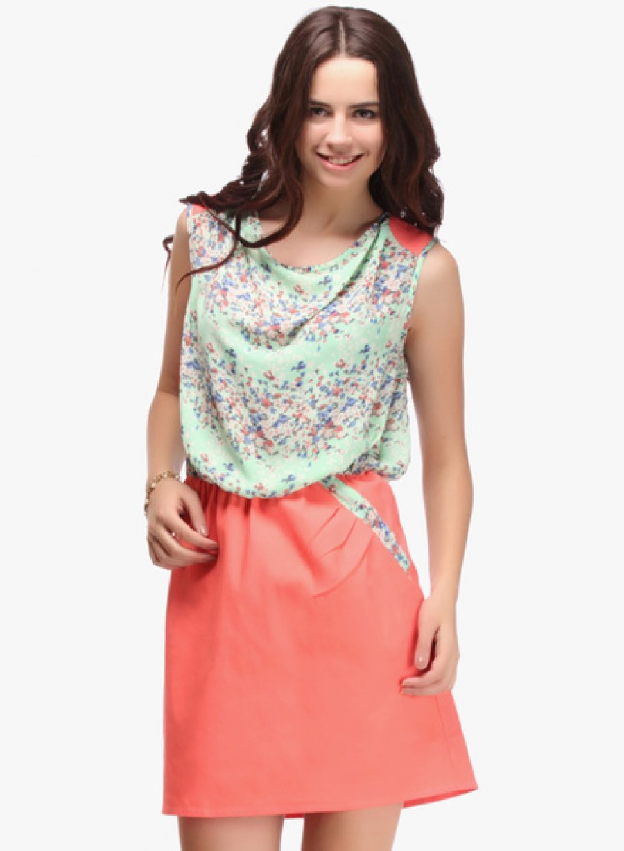 Buy NINETEENGreen Coloured Printed Shift Dress Online
