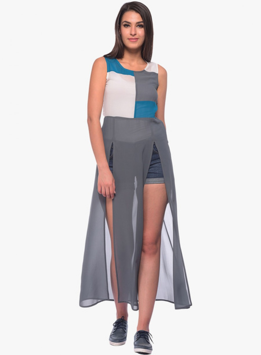 Buy NINETEENGrey Coloured Solid Asymmetric Dress Online