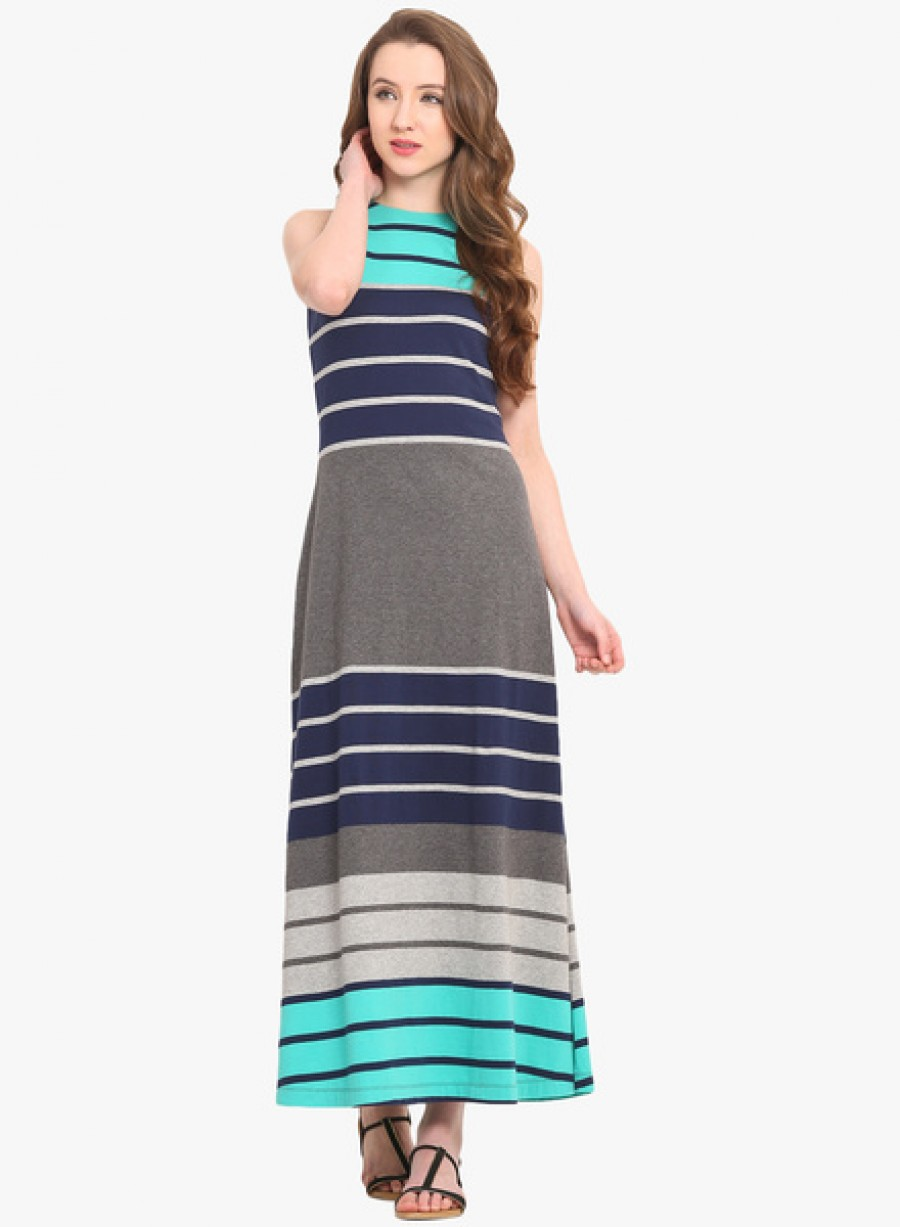 Buy Saiesta Blue Coloured Striped Maxi Dress Online