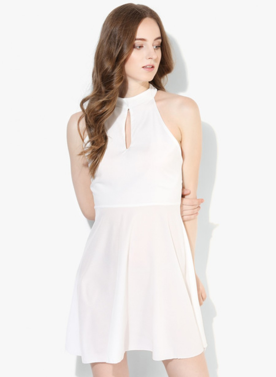 Buy JC CollectionWhite Coloured Solid Shift Dress Online