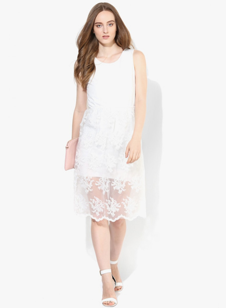 Buy JC CollectionWhite Coloured Embroidered Skater Dress Online