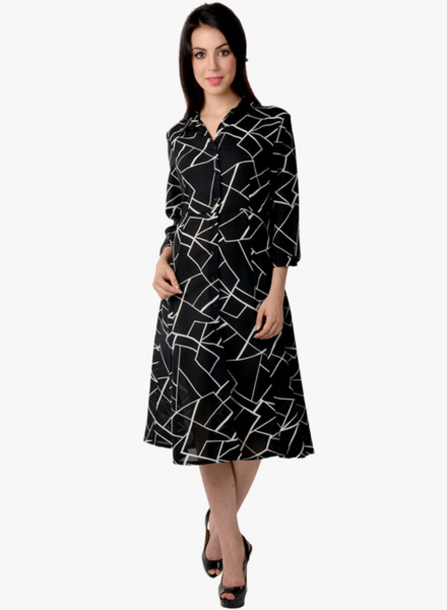 Buy Lemon Chillo Black Printed Shift Dress Online