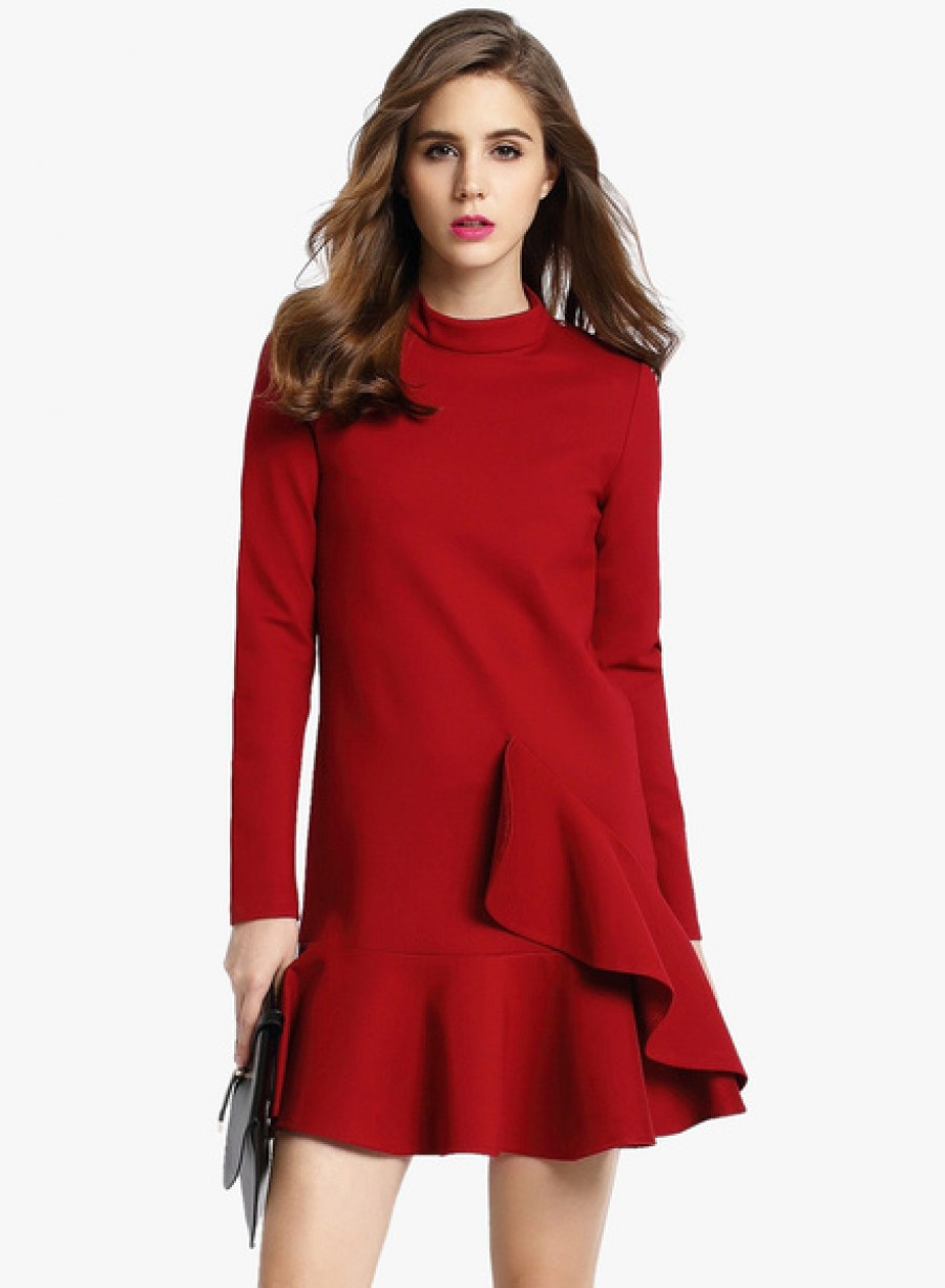 Buy JC CollectionMaroon Coloured Solid Skater Dress Online