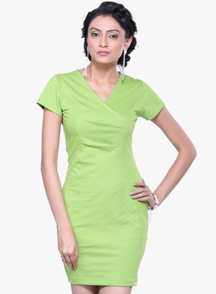 Buy Vea kupiaGreen Coloured Solid Bodycon Dress Online