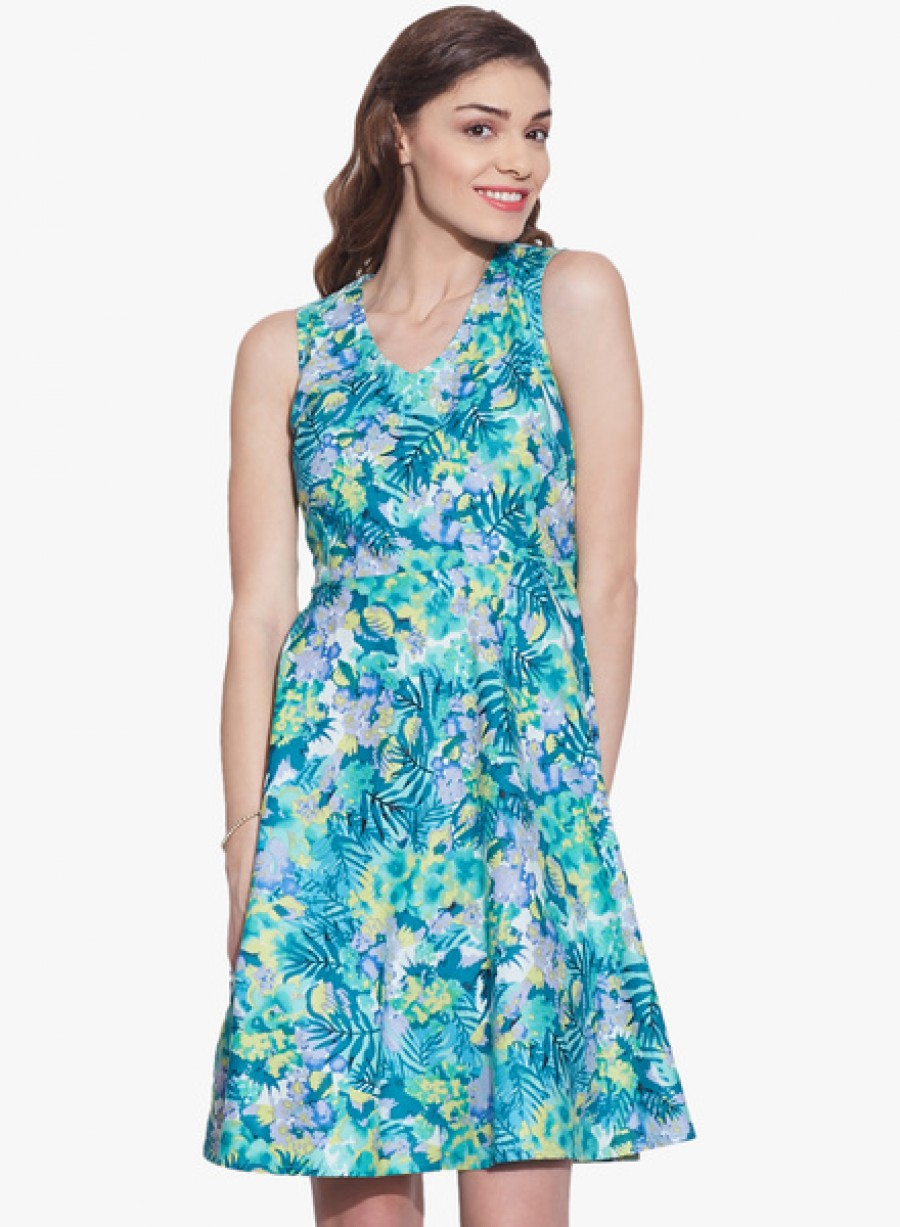 Buy Very MeTurquoise Coloured Printed Skater Dress Online