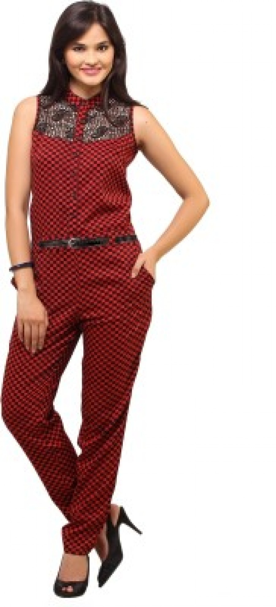 Buy Cottinfab Checkered Womens Jumpsuit Online