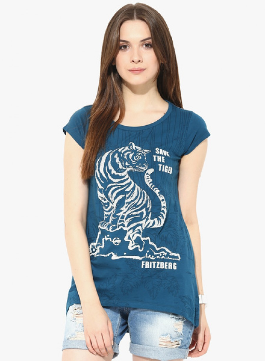 Buy FritzbergBlue Graphic Printed T Shirt Online