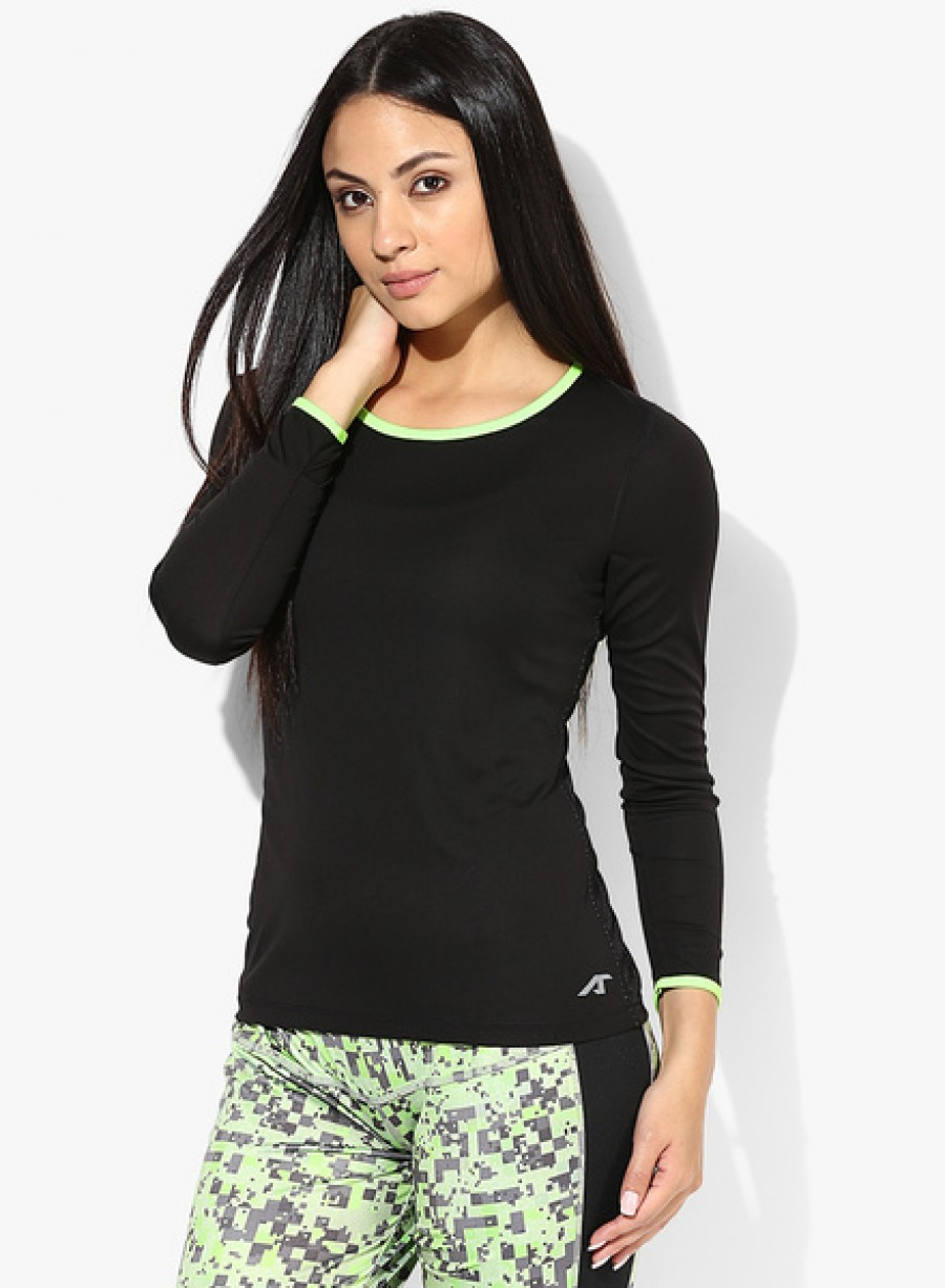 Buy Alcis Full Mesh Back Black Round Neck T Shirt Online