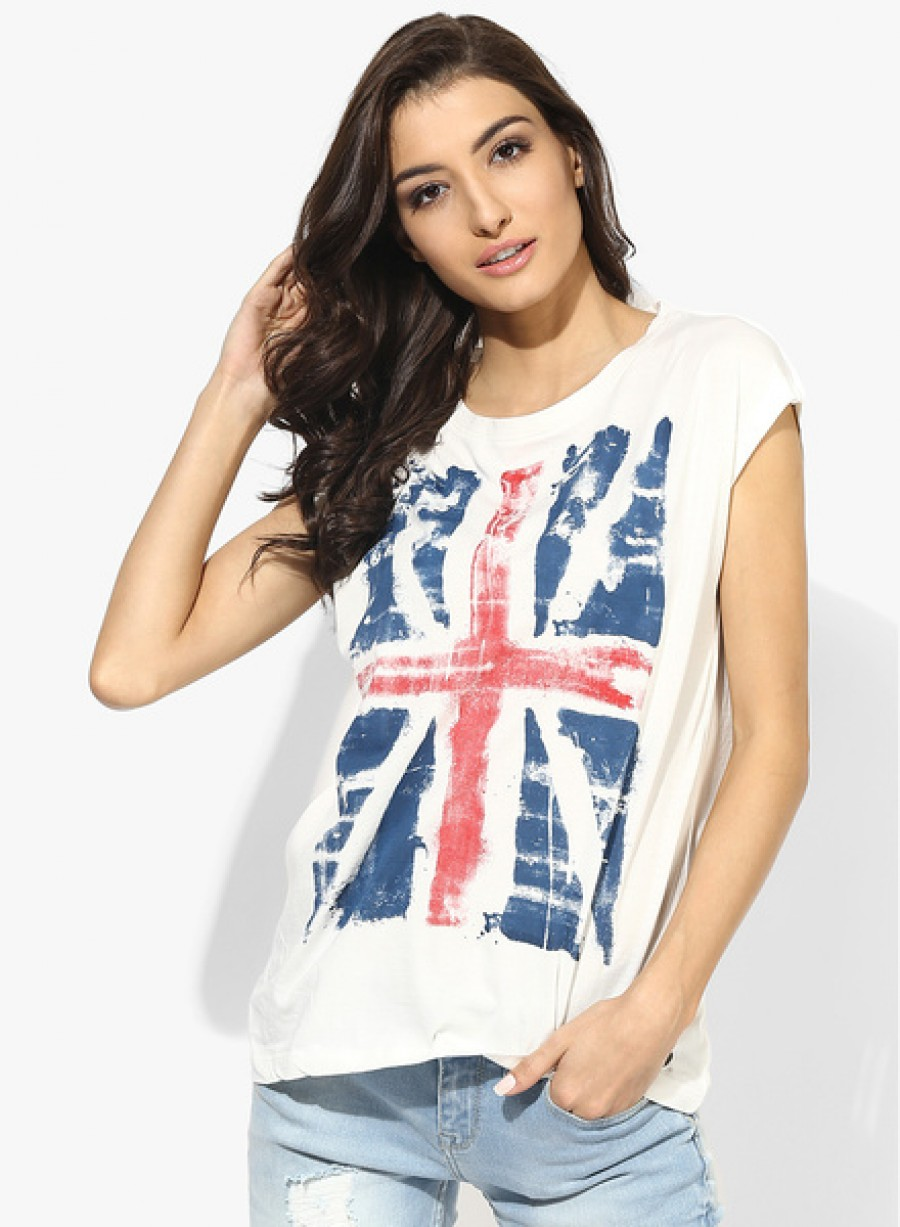 Buy Pepe JeansOff White Printed T Shirt Online