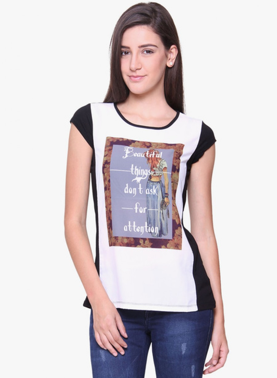 Buy IdentitiOff White Printed T Shirt Online