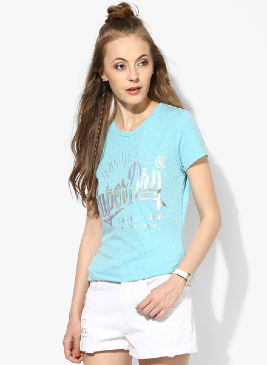 Buy SuperdryAqua Blue Graphic T Shirt Online