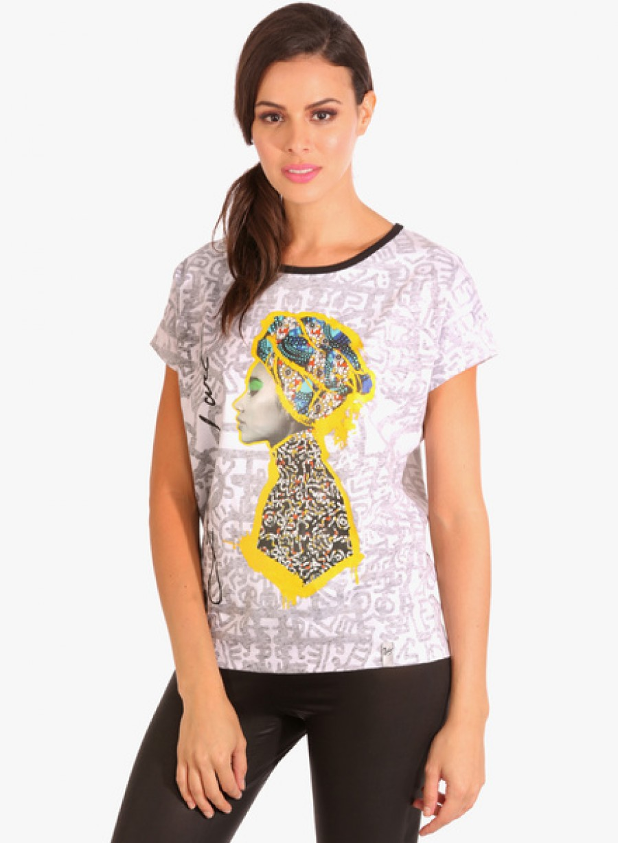 Buy SilverswanWhite Printed T Shirt Online