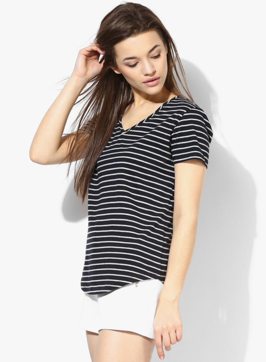 Buy Tshirt CompanyNavy Blue Striped T Shirt Online