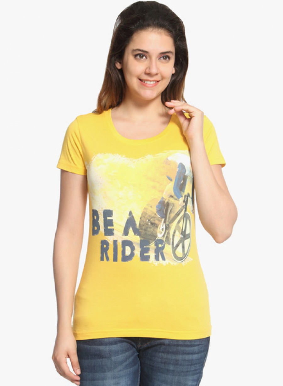 Buy WolfpackYellow Printed T Shirt Online