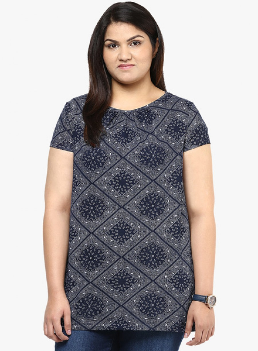 Buy Alto Moda By PantaloonsNavy Blue Printed T Shirt Online