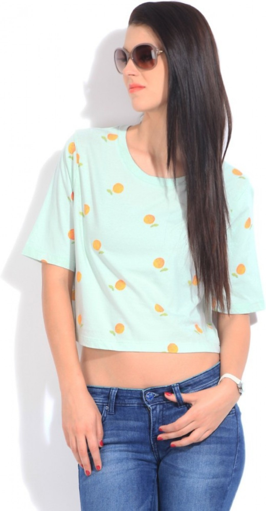 Buy United Colors of Benetton Printed Women Round Neck Blue T Shirt Online