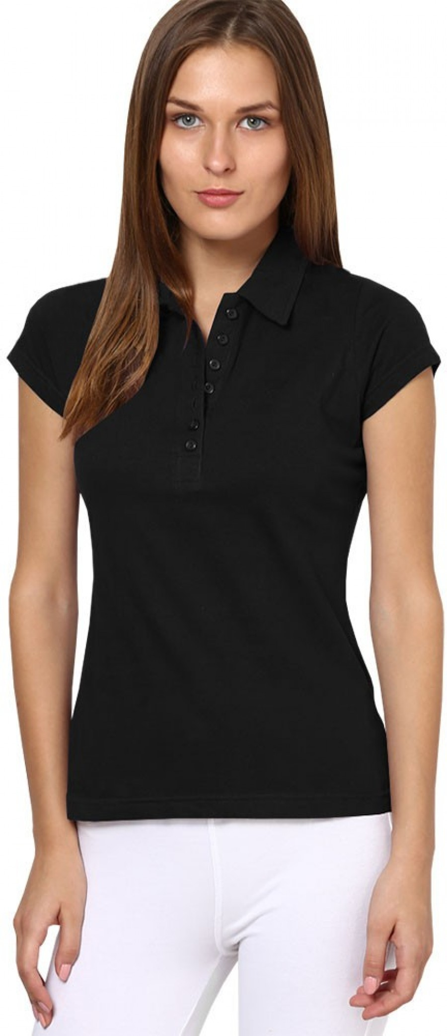 Buy Softwear Solid Women Polo Black T Shirt Online