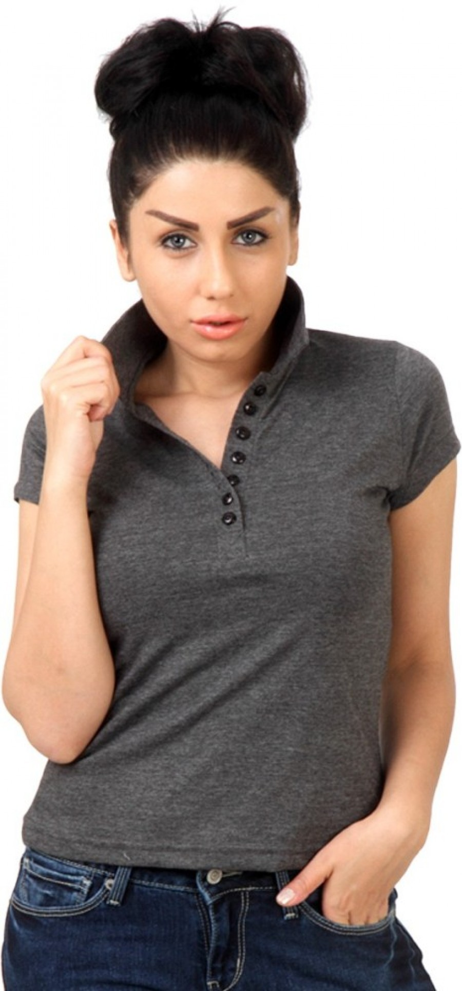 Buy Top Notch Solid Women Polo Neck Grey T Shirt Online