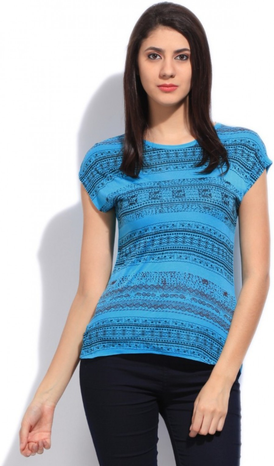 Buy Wrangler Printed Women Round Neck Blue T shirt Online