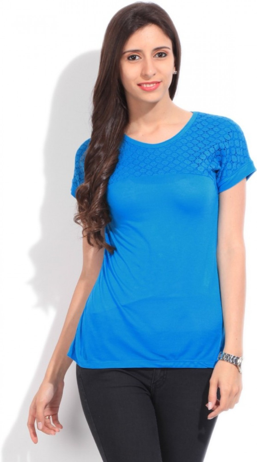 Buy Wrangler Solid Women Round Neck Blue T shirt Online