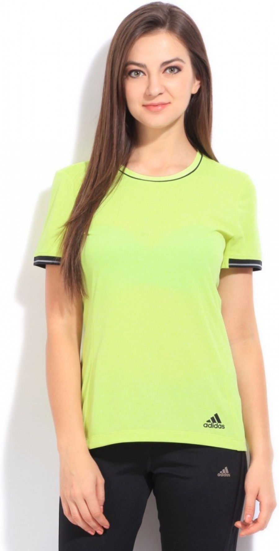 Buy Adidas Solid Women Round Neck Green T Shirt Online