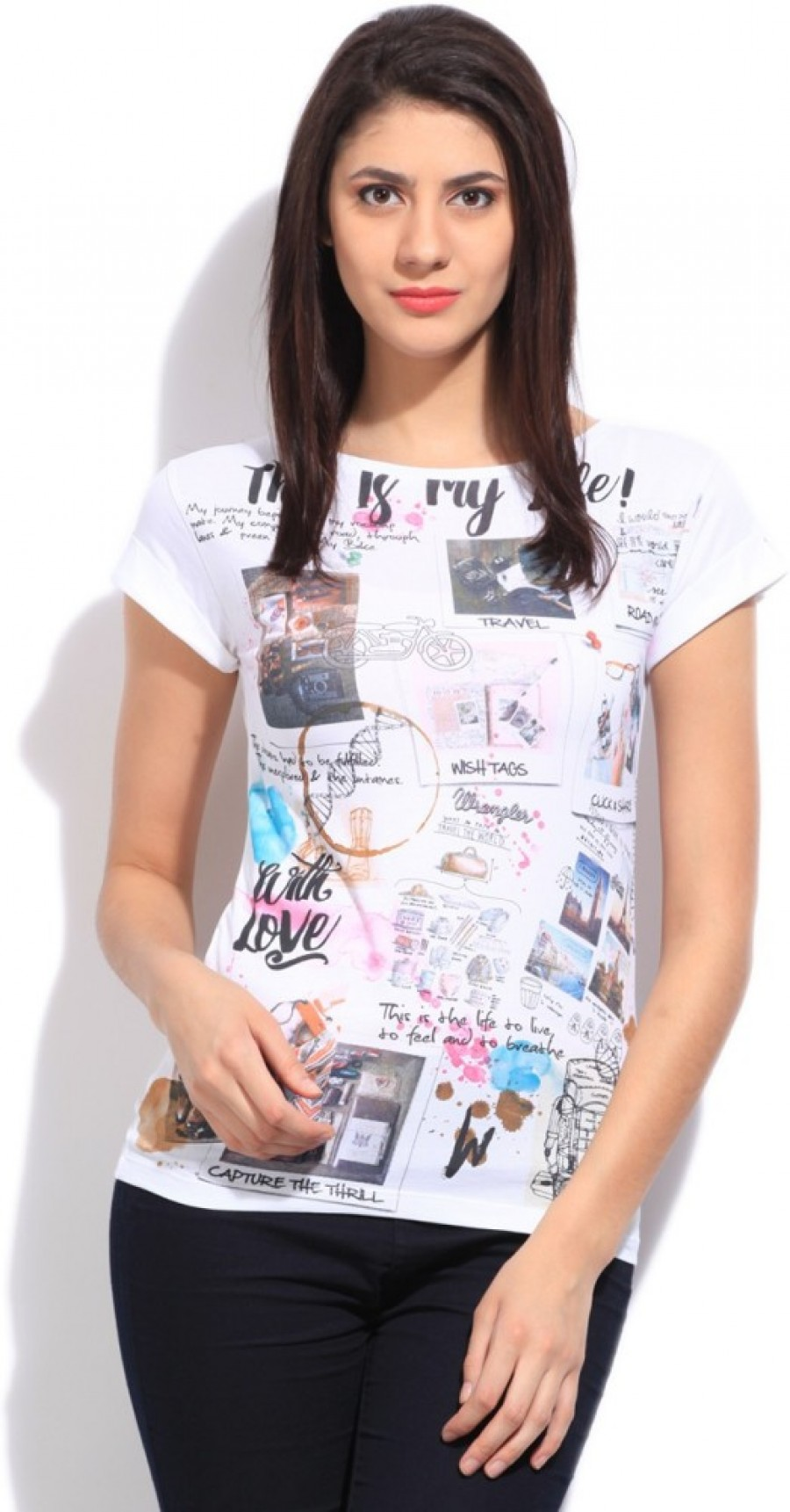 Buy Wrangler Printed Women Round Neck White T Shirt Online