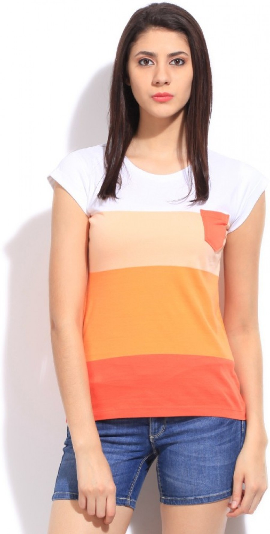 Buy Wrangler Striped Women Round Neck White  Orange T Shirt Online