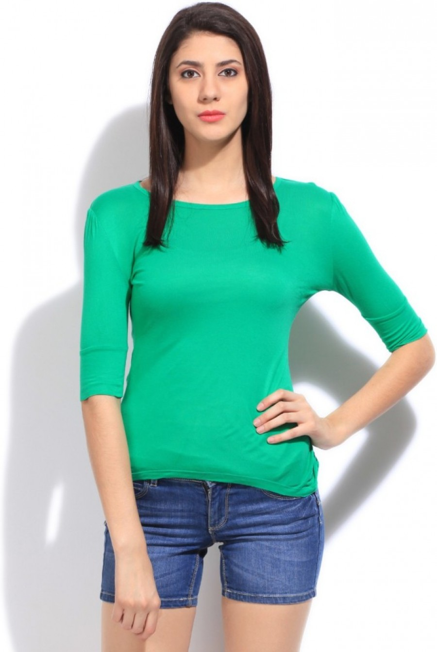 Buy Flying Machine Solid Women Round Neck Green T shirt Online