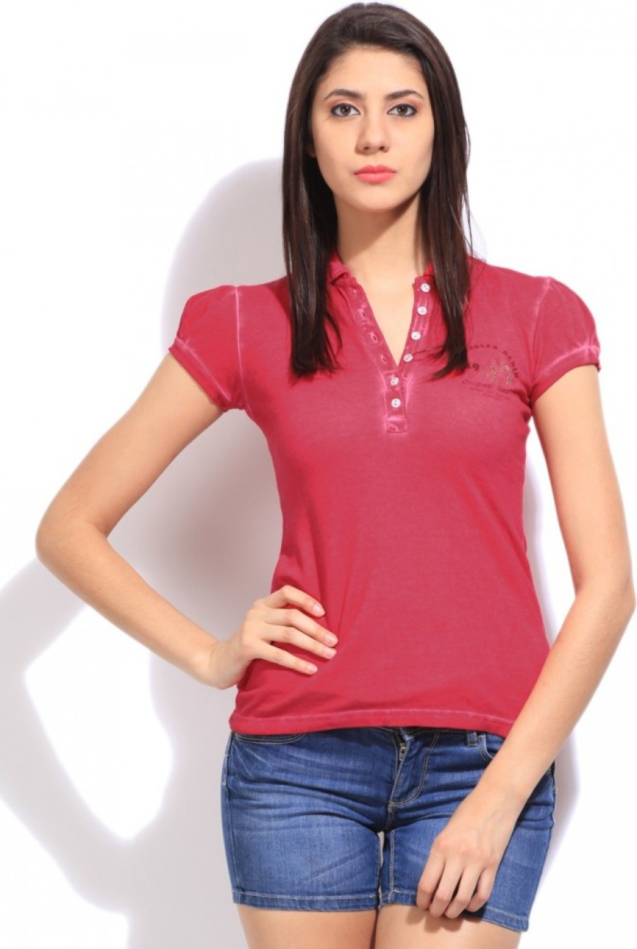 Buy Wrangler Solid Women Polo Pink T Shirt Online