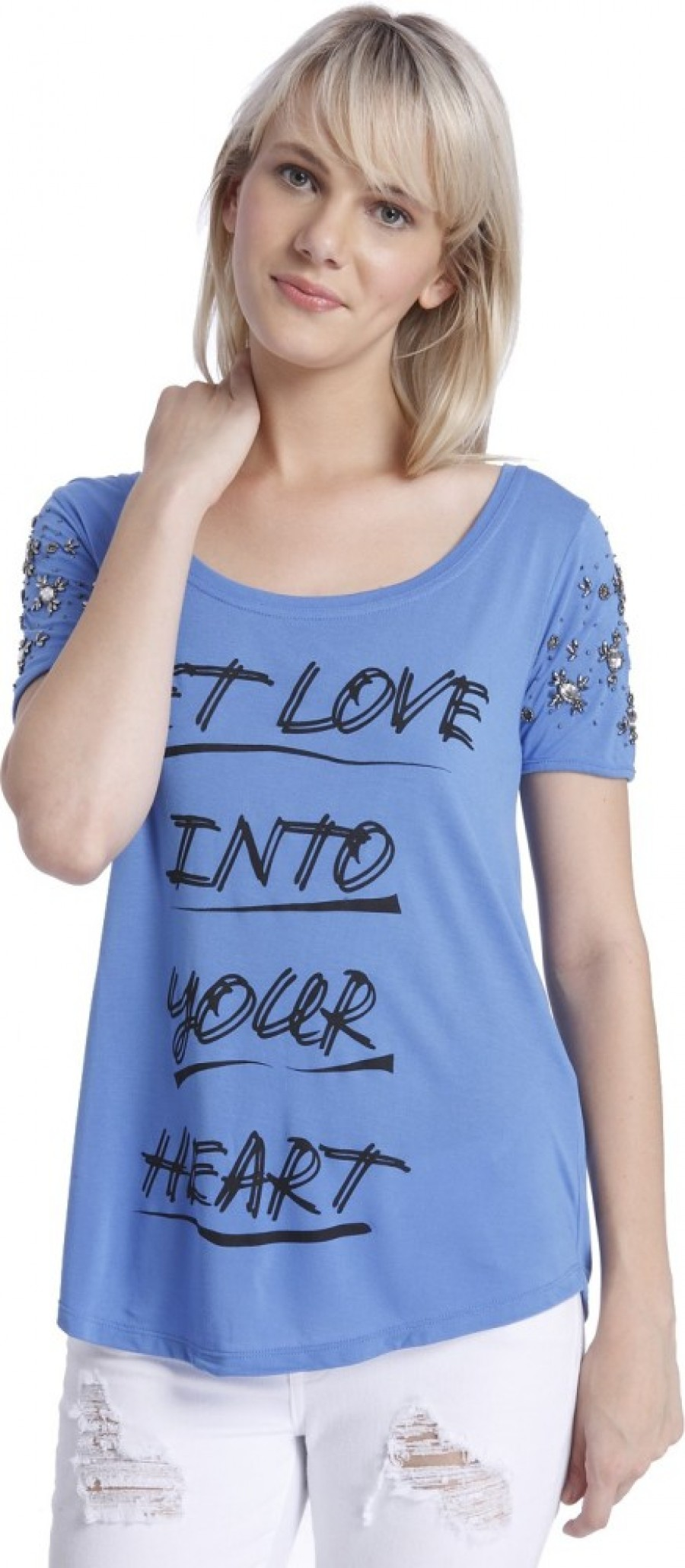 Buy Vero Moda Graphic Print Women Round Neck Blue T Shirt Online