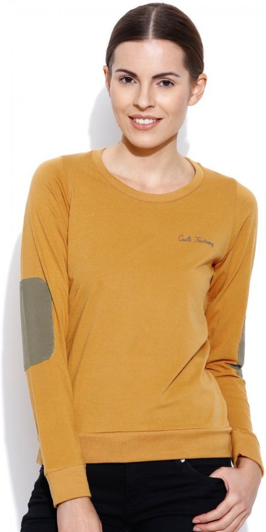 Buy Cult Fiction Solid Women Round Neck Yellow T Shirt Online