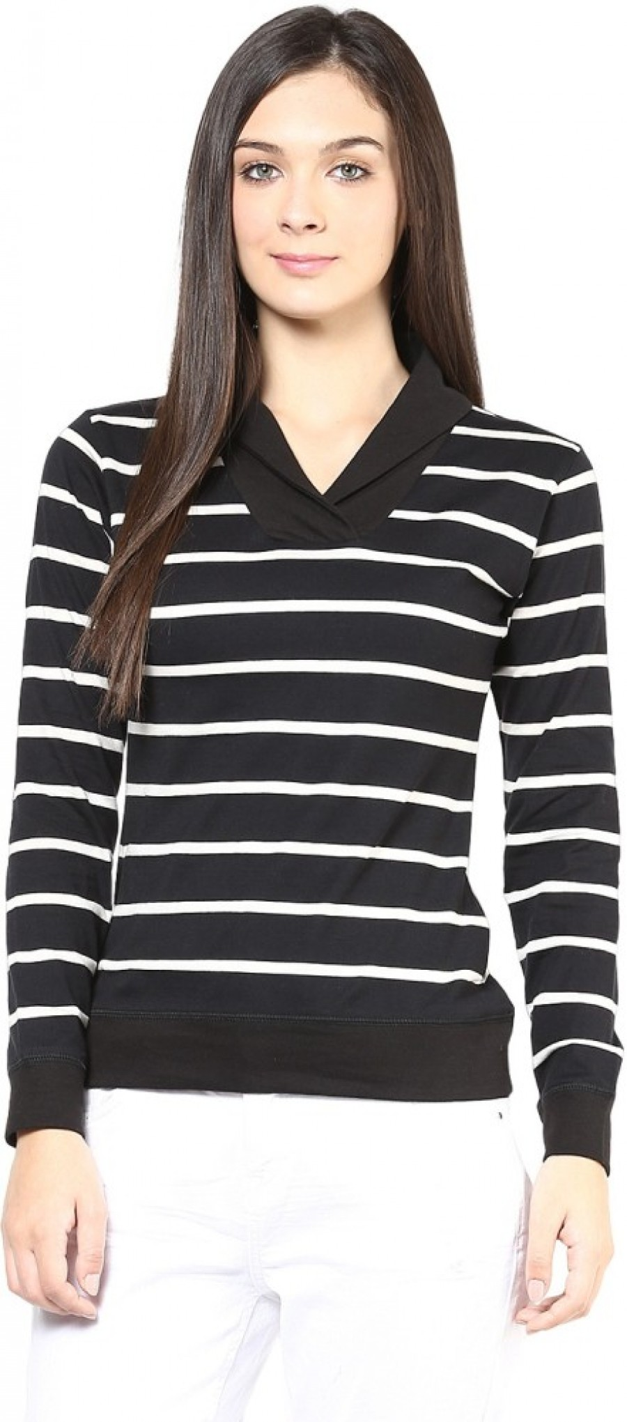 Buy Hypernation Striped Women Draped Neck Black  White T Shirt Online