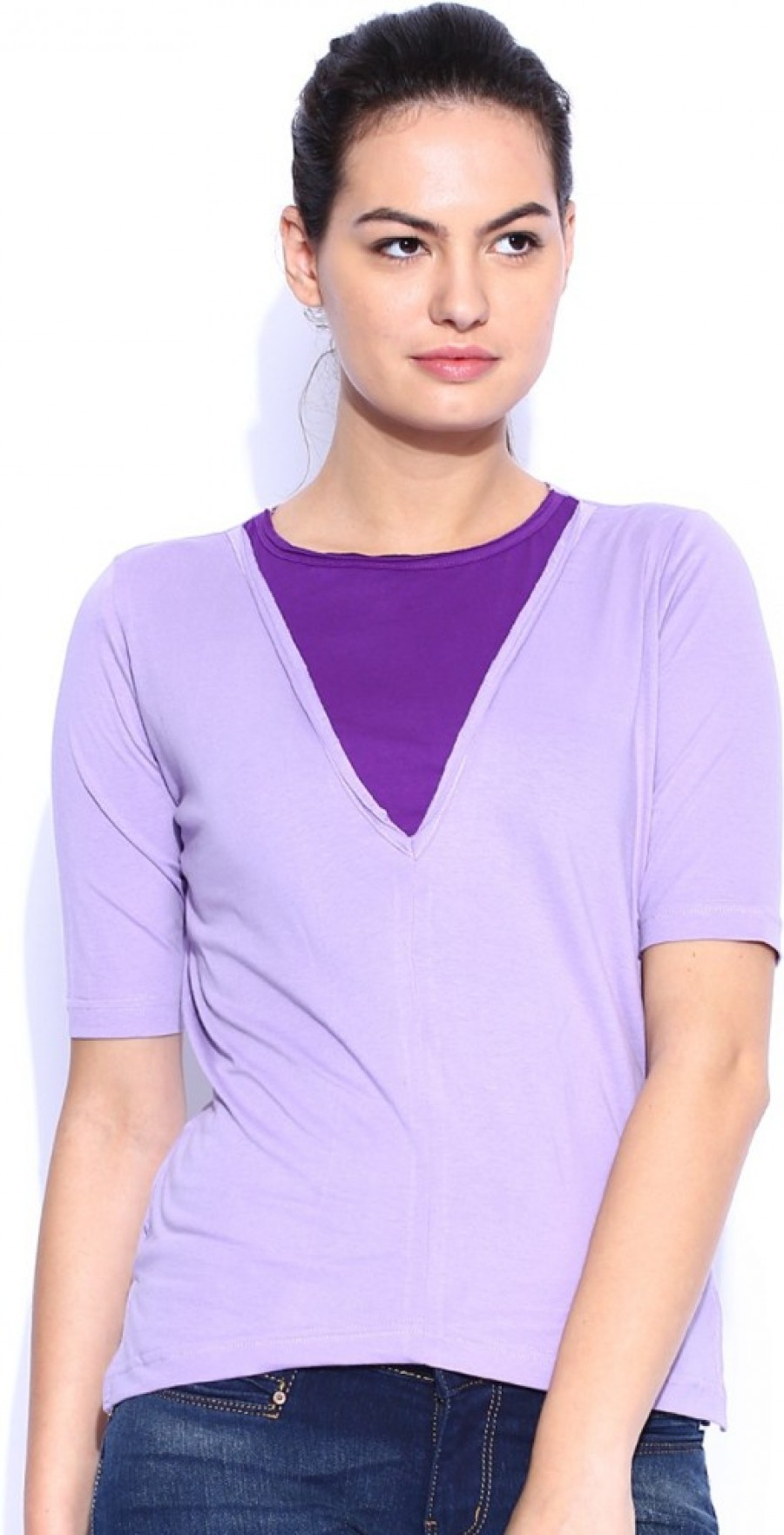 Buy Le Bison Solid Women Round Neck Purple T Shirt Online