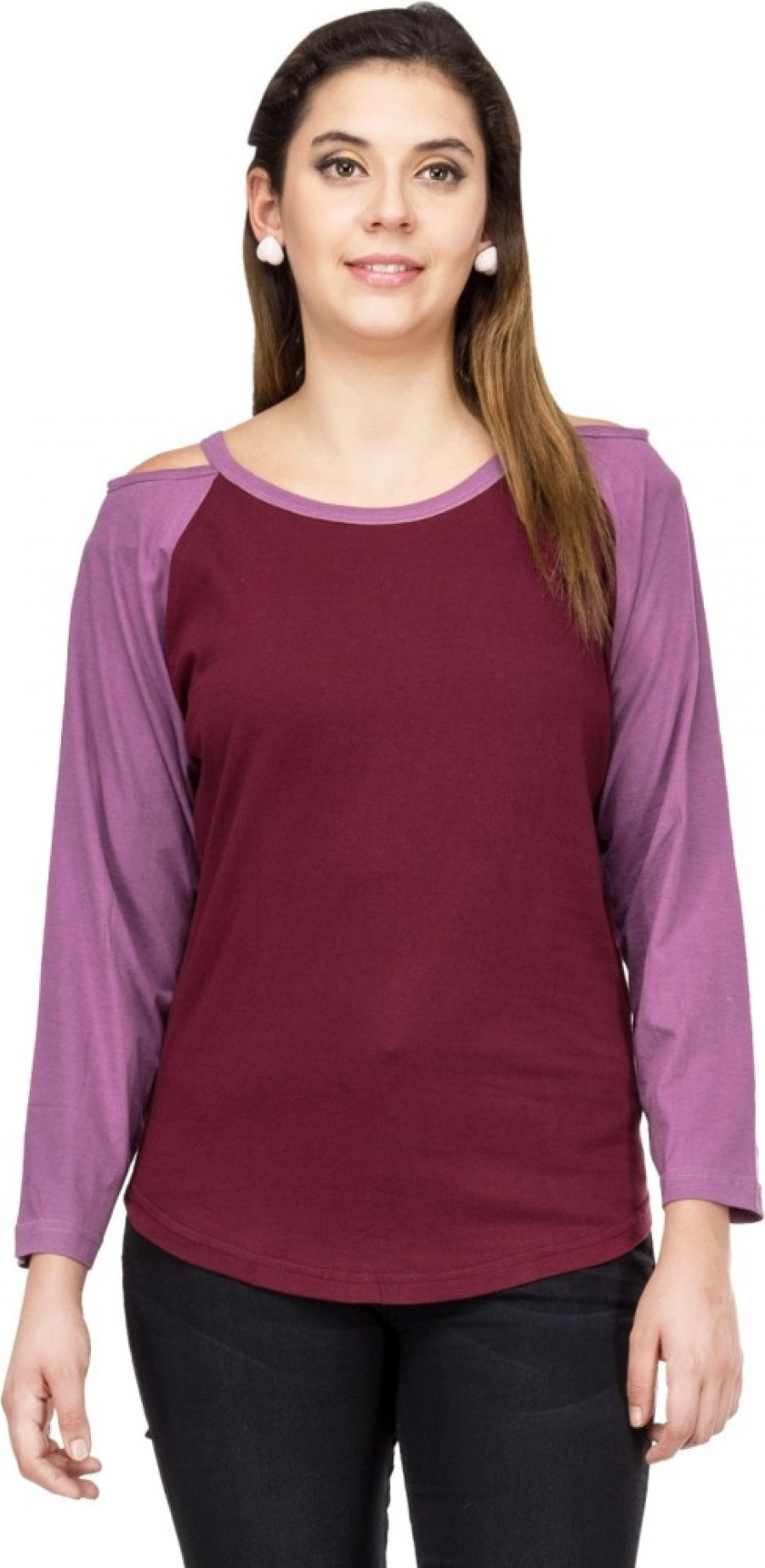 Buy Le Bison Solid Women Round Neck Brown  Purple T Shirt Online