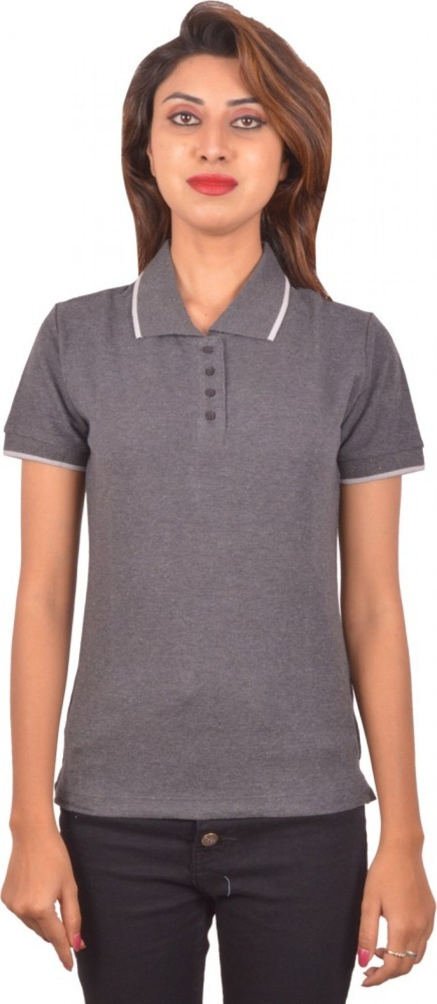 Buy Blueash Self Design Women Polo Neck Grey T Shirt Online